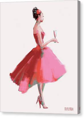 Pink Champagne Fashion Art Canvas Print by Beverly Brown