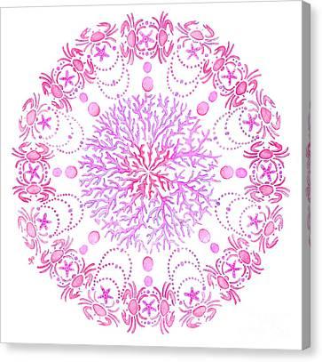 Pink Crab Mandala Canvas Print by Stephanie Troxell