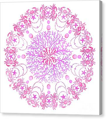 Pink Crab Mandala Canvas Print by Stephanie Troxell