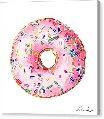 Pink Donut With Sprinkles Canvas Print by Laura Row