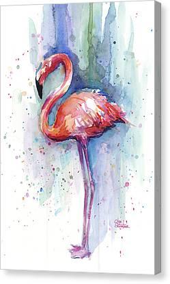 Pink Flamingo Watercolor Canvas Print by Olga Shvartsur