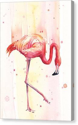 Pink Flamingo Watercolor Rain Canvas Print by Olga Shvartsur