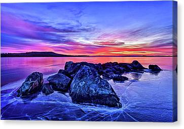 Pink Ice At Dawn Canvas Print by ABeautifulSky Photography