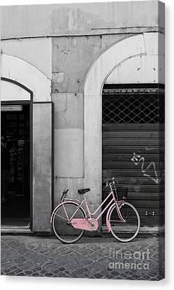 Pink Italian Bike Canvas Print by Edward Fielding