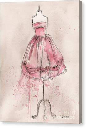 Pink Party Dress Canvas Print by Lauren Maurer