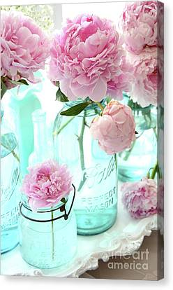Pink Peonies In Blue Aqua Mason Ball Jars - Romantic Shabby Chic Cottage Peonies Flower Nature Decor Canvas Print by Kathy Fornal
