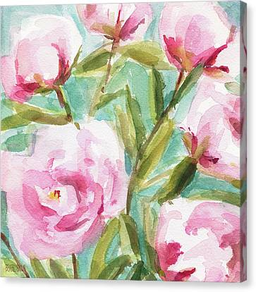Pink Peony Branches Canvas Print by Beverly Brown Prints