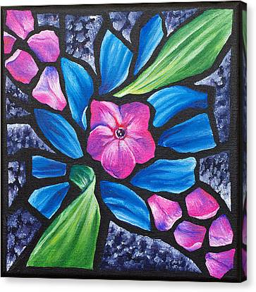 Pink Phlox And Blue Daisy, 2011 Canvas Print by Julie Freeney