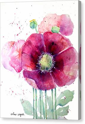 Pink Poppies Canvas Print by Arline Wagner