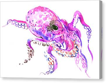 Pink Purple Octopus Canvas Print by Suren Nersisyan