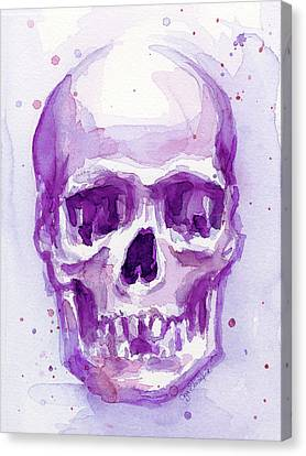 Pink Purple Skull Canvas Print by Olga Shvartsur