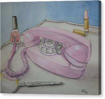 Pink Retro 1960 Telephone Canvas Print by Kelly Mills
