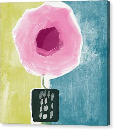 Pink Rose In A Small Vase- Art By Linda Woods Canvas Print by Linda Woods