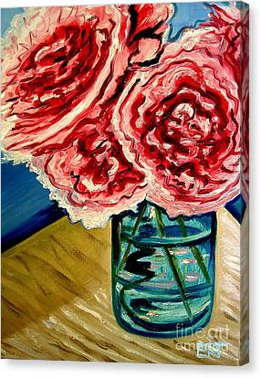 Pink Ruffled Peonies Canvas Print by Elizabeth Robinette Tyndall
