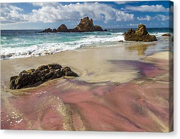 Pink Sand Beach In Big Sur Canvas Print by Pierre Leclerc Photography