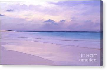 Pink Sand Purple Clouds Beach Canvas Print by Anthony Fishburne