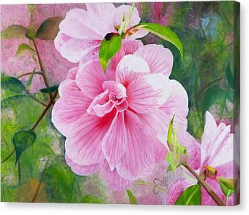 Pink Swirl Garden Canvas Print by Shelley Irish