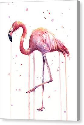 Pink Watercolor Flamingo Canvas Print by Olga Shvartsur