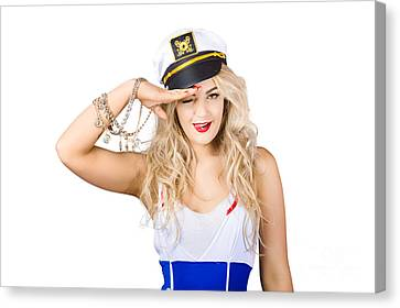 Pinup Sailor Woman Saluting In Captains Hat Canvas Print by Jorgo Photography - Wall Art Gallery