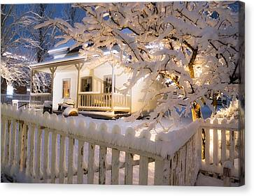 Pioneer Home At Christmas Time Canvas Print by Utah Images