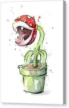 Piranha Plant Watercolor Canvas Print by Olga Shvartsur