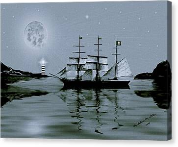 Pirate Cove By Night Canvas Print by Madeline  Allen - SmudgeArt