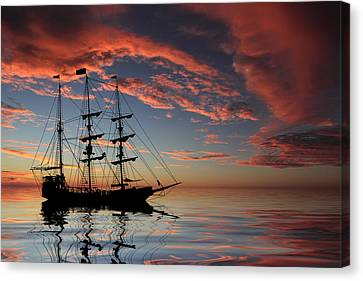 Pirate Ship At Sunset Canvas Print by Shane Bechler