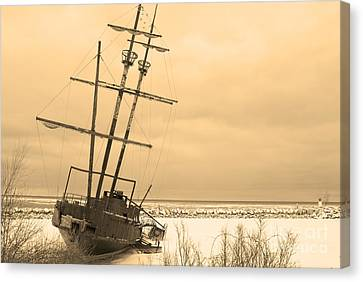 Pirates In The Harbour Canvas Print by DebraLee Wiseberg