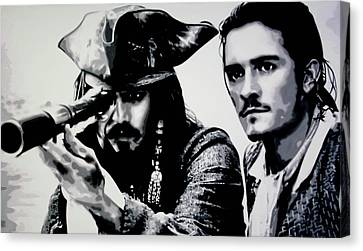 Pirates Of The Carribean Canvas Print by Luis Ludzska