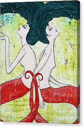Pisces Mermaids Canvas Print by Natalie Briney