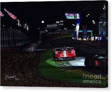 Pits Straight, Night, Le Mans 2014  Canvas Print by Alain Baudouin