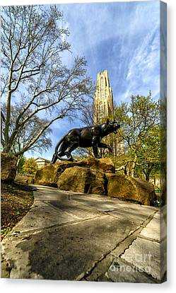 Pitt Panther Cathedral Of Learning Canvas Print by Thomas R Fletcher