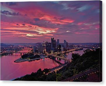 Pittsburgh Dawn Canvas Print by Jennifer Grover