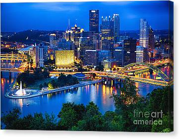 Pittsburgh Downtown Night Scenic View Canvas Print by George Oze