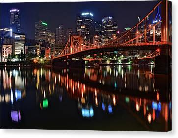 Pittsburgh Lights Canvas Print by Frozen in Time Fine Art Photography