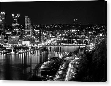 Pittsburgh Skyline At Night Canvas Print by Michelle Joseph-Long