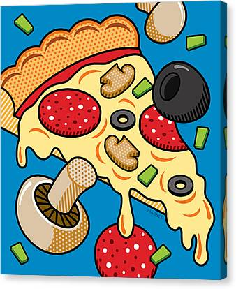 Pizza On Blue Canvas Print by Ron Magnes