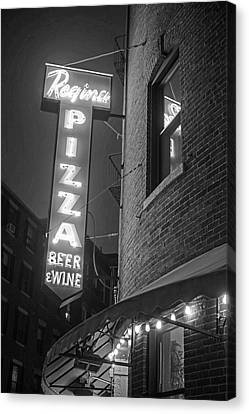 Pizzeria Regina Boston Ma North End Thacher Street Neon Sign Black And White Canvas Print by Toby McGuire