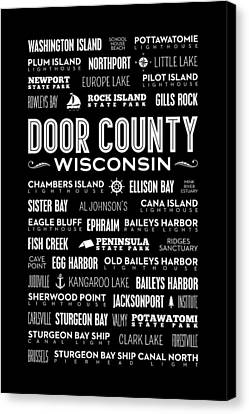 Places Of Door County On Black Canvas Print by Christopher Arndt