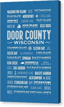 Places Of Door County On Blue Canvas Print by Christopher Arndt