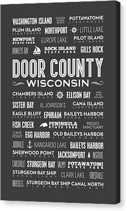 Places Of Door County On Gray Canvas Print by Christopher Arndt