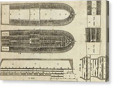 Plan Of Brooks Slave Ship Canvas Print by American School