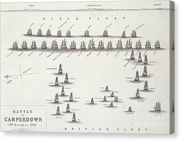 Plan Of The Battle Of Camperdown, 11th October 1797 Canvas Print by Alexander Keith Johnston