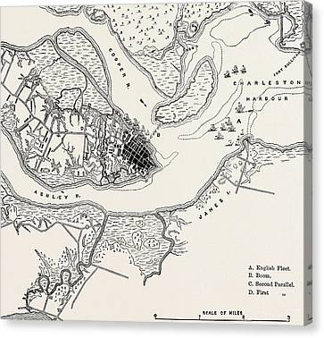 Plan Of The Siege Of Charleston Canvas Print by American School