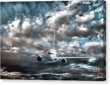 Plane In Storm Canvas Print by Olivier Le Queinec