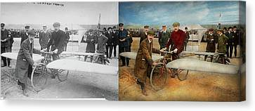 Plane - Odd - Easy As Riding A Bike 1912 - Side By Side Canvas Print by Mike Savad