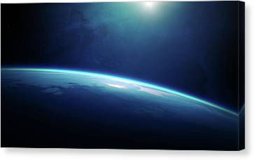 Planet Earth Sunrise From Space Canvas Print by Johan Swanepoel
