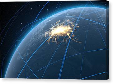 Planet With Illuminated City And Light Trails Canvas Print by Allan Swart