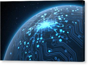 Planet With Illuminated Network Canvas Print by Allan Swart