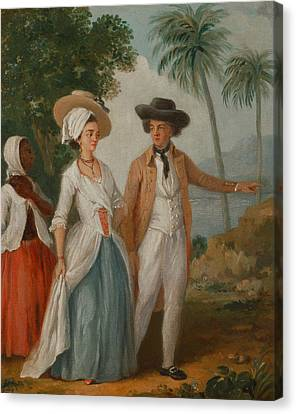 Planter And His Wife, With A Servant Canvas Print by Agostino Brunias